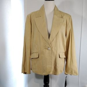 PAMELA MCCOY Suede Leather Tan Jacket Size 3X NWT